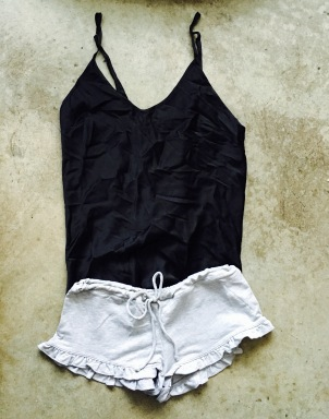 Silk Cami with Drawstring Shorts
